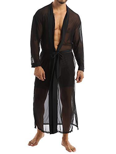 Yeahdor Herren Nachtwäsche Transparent Pyjama Lang Mantel Morgenmantel Sexy Negligee Kinomo Mesh Jacke mit Gürtel Reizwäsche Schwarz XXL
