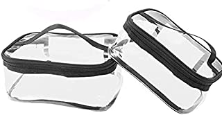 Tenghoda 2 Pieces Portable Clear Square Toiletry Bag, Transparent Cosmetic Organizer with Handle, Traveling Pouch
