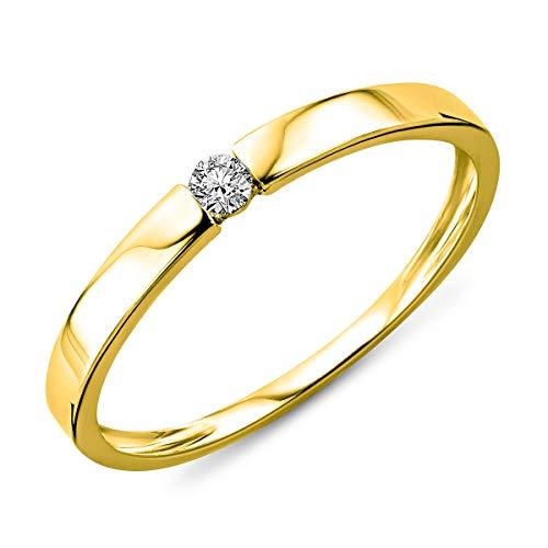 Miore Ring Damen Solitär Diamant Verlobungsring Weißgold/Gelbgold 14 Karat / 585 Gold Diamant Brillant 0.06 Ct, Schmuck … (14 Karat (585) Gelbgold, 52 (16.6))