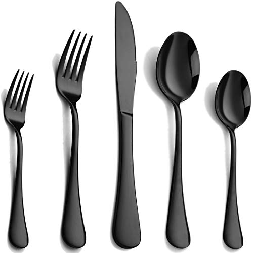 Black Silverware Set 20 Piece, Stainless Steel Flatware Set for 4, Cutlery Utensils Set Include Knives/Forks/Spoons Service for 4, Mirror Polished and Dishwasher Safe
