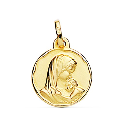 Medalla Virgen Dulce Madre Oro 18k 18mm
