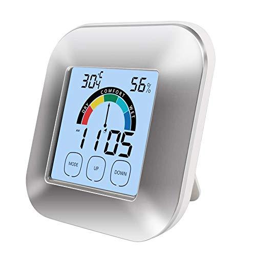 beautijiam Digitaler Hygrometer-Innenthermometer-Genauigkeits-Smart-Feuchte-Temperaturmesser Mit Touchscreen-Hintergrundbeleuchtung-Timer-Alarm Silber