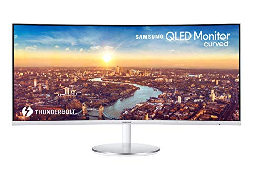 Samsung C34J791 Monitor Curvo Ultrawide, 34 Pollici, WQHD, QHD, 3440 x 1440, 4 ms, 21:9, 100 Hz, 1440p, HDMI, Display Port, Thunderbolt 3, Quantum Dot, Base Tonda, Bianco, VESA, Versione 2020