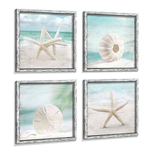 Beach Framed Wooden Wall Art: Ocean Artwork Set of 4 Starfish Seashell & Sand Dollar Pictures Prints Seascape Wall Decor for Bedroom