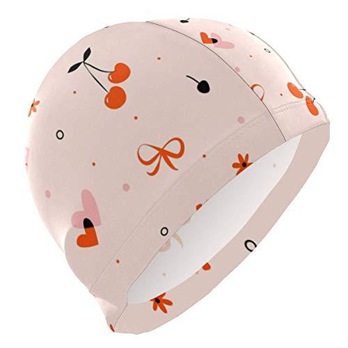 Bonnet de Bain adapté aux Cheveux Longs Cheveux Courts, Cerises Coffret Cadeau Bonnets de Bain Femme Hommes Adolescents Non-étanche Taille Unique Chapeau