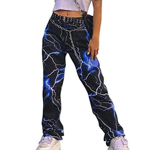 Lightning Print Pants 2019 Neue Damenmode Lightning Print Lässige Weite Hose