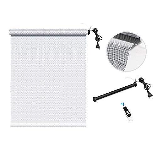 zemismart WiFi Smart-Rollladen-Rohrmotor mit Sonnenschutzvorhang, Alexa Voice, Timer-Steuerung, Fernbedienung, 5% Lichtdurchlässigkeit, stark beschattet, feuerhemmend (90x178cm, Grau)