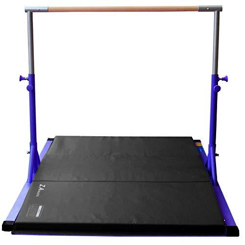 Z Athletic Elite Gymnastics bar Adjustable Height for Kips, Training & 4' x 6' x 2in Mat (Blue & black)
