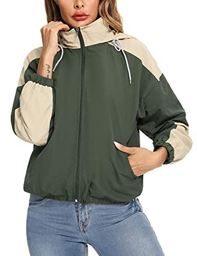 Doaraha Abrigo Impermeable para Mujer, Chaqueta de Cortavientos con Capucha para Mujer,...