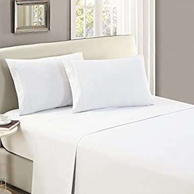 Mellanni Flat Sheet Twin White Brushed Microfiber 1800 Bedding Top Sheet - Wrinkle, Fade, Stain Resistant - Hypoallergenic - (Twin, White)
