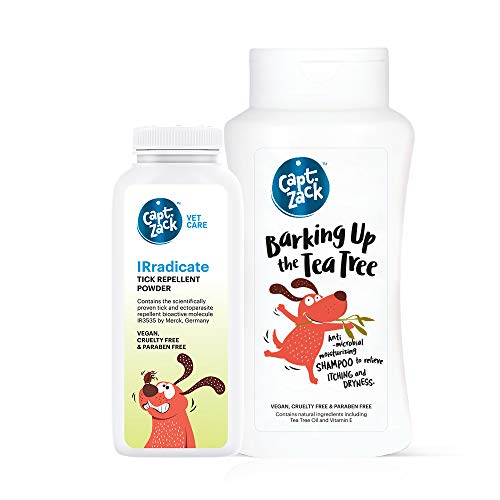 Captain Zack Combo|IRradicate Tick Repellent Powder-75g for No Tick & Flea Also for Dog Bedding+ Barking Up The Tea Tree shampoo-200ml for Relieve Itching, Anti-Fungal, Anti-Bacterial| Pack of 2