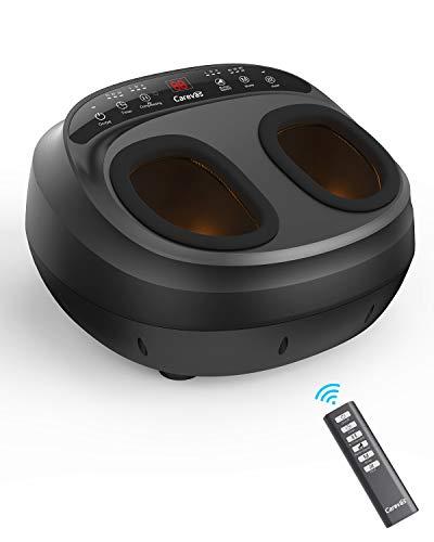 Masajeador de pies Carevas, masaje eléctrico de pies con compresión/calentamiento de aire, 5 modos de shiatsu/amasamiento, con control remoto pantalla LCD, para el hogar y oficina