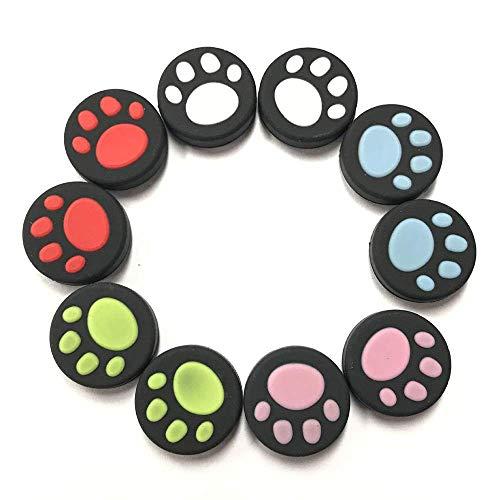 Capa de silicone estilo pata de gato da KenSera para o polegar e as capas de joystick, adequada para Nintendo Switch NX NS Joy-Con Controller Joystick (10 peças de várias cores)