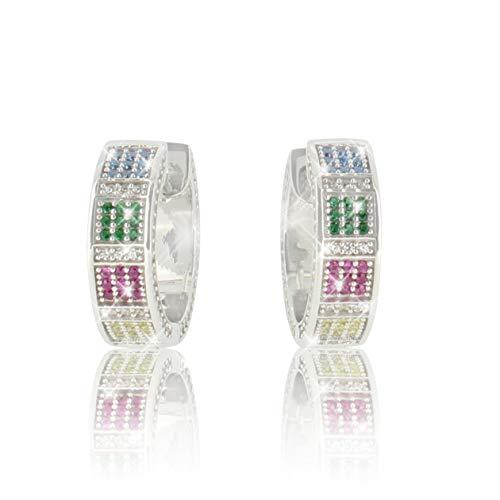 PAVEL´S Pendientes coloridos de aros RAINBOW para mujer hechos de plata pura 925 con brillantes piedras de circonita cúbica, caja de joyería + certificado de autenticidad