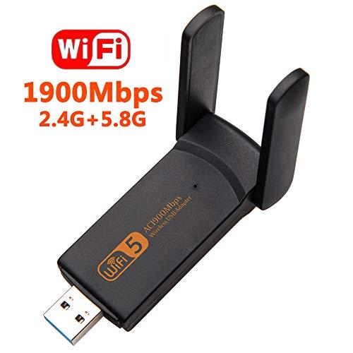 XVZ Adattatore WiFi USB, 1900 mbps Dual Band 2.4G/5G, mini scheda di rete wireless WiFi Dongle per laptop/desktop/PC, supporto Windows10/8/8.1/7