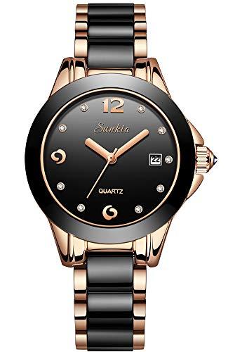 Mujer Moda Negro Cuarzo analógico SUNKTA Relojes Acero Inoxidable Impermeable Reloj con Banda de Ceramica y Ventana de Fecha Señoras Reloj de Pulsera