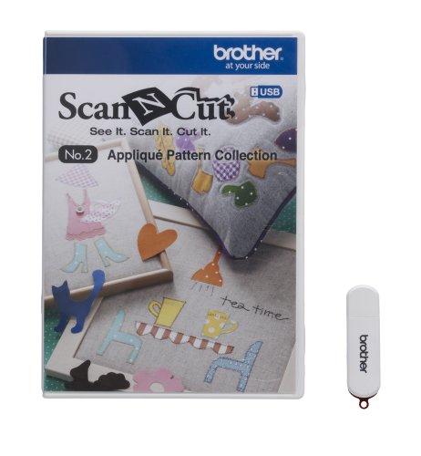 Brother CAUSB2 Scan-N-Cut n. 2 - Colección de Patrones para aplicación, Color Blanco