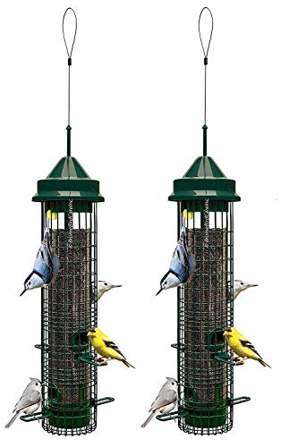 """Squirrel Buster Classic 5.3""""x5.3""""x32"""" (w/hanger) Wild Bird Feeder with 4 Feeding Ports, 2.4lb Seed Capacity, 2 Pack"""