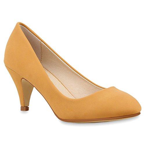 Damen Pumps Viele Farben Pastell Schuhe 66742 Hellbraun Basic 40 Flandell