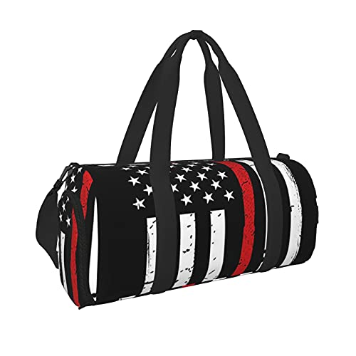 Red Line Firefighter Usa Flag Sports Gym Duffel Bag With Wet Pocket & Shoes Compartment,Travel Luggage Handbag For Men Women