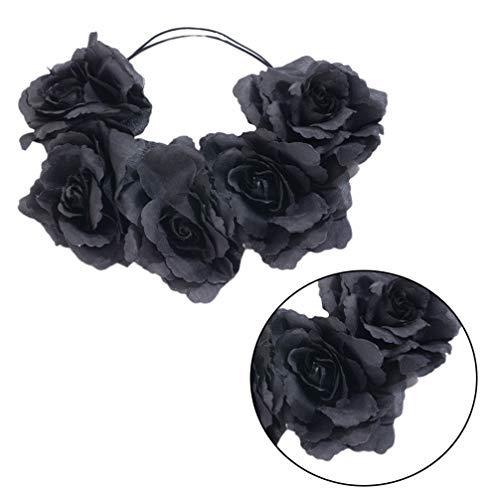 FRCOLOR Fita de Cabelo Rosa Negra 3 Peças Coroa de Flores Rosa Coroa de Rosa de Halloween para Festa de Casamento de Cosplay