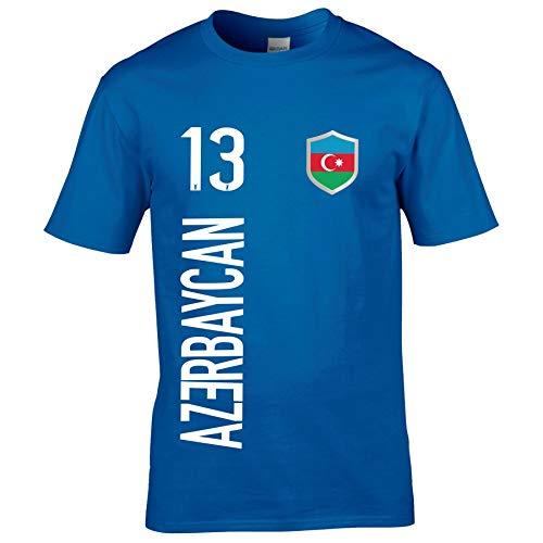FanShirts4u Herren Fan-Shirt Jersey Trikot - ASERBAIDSCHAN - T-Shirt inkl. Druck Wunschname & Nummer WM EM (L, AZERBAYCAN/blau)