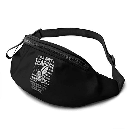 AOOEDM Us Navy Seabees Veteran Unisex Casual Waist Bag Packs Bum Bag with Adjustable Belt for Running Sports