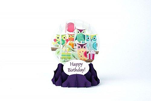 Pop Shot Studios 3D-Geburtstagskarte Eulen-Schneekugel