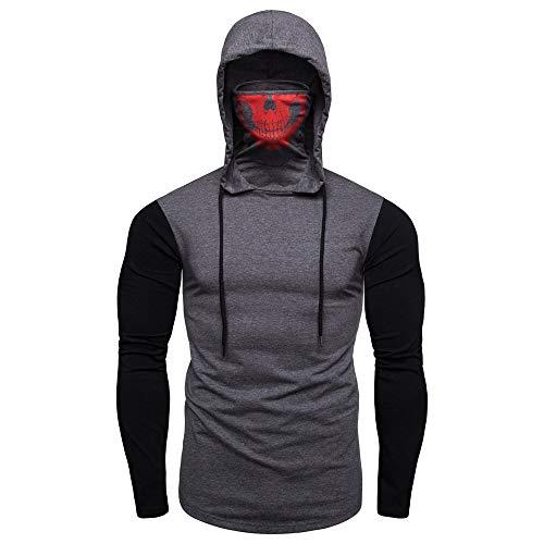 ITISME Homme Sweat Shirt a Capuchon Vêtements Sweat a Capuchon Skull Masque Col T-Shirt Chemisier À Capuche Blouson