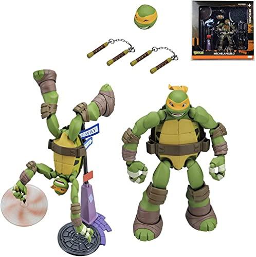 LINRUS Ninja Turtles Figure Michelangelo Backflip Attack Character Model Characters 1990 Action Figure Teenage Children s Toys Rise of the Teenage Mutant Ninja Turtles
