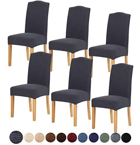 TIANSHU Fundas para sillas 6 Piezas,Poliéster Elástica Fundas sillas Duradera Modern Bouquet de la Boda Hotel Decor Restaurante(6 Piezas,Gris)