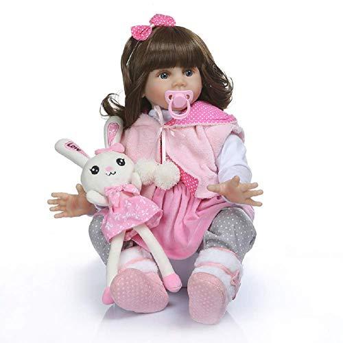 Muñeca Realista de Silicona de 60 cm, Vinilo Suave Reborn Baby Gift Puzzle Doll Toy con Ropa Diferente, Realista vívido niño niña Juguete