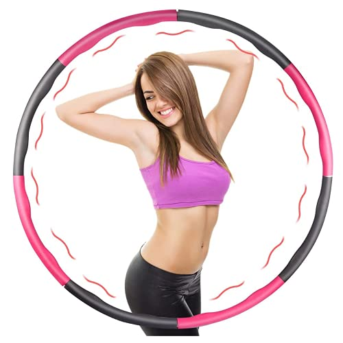 Zeeqon Weighted Exercise Hoop for Women Weight Loss, Hula Hoop for Plus Size Women Upto 5lb - Detachable Design with 8 Sections - Perfect Workout Equipment for Women - Easy Spin & Waist Protection