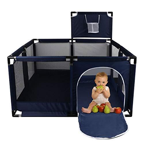 Corralito Parque Infantil, YEEGO DIRECT Parque Infantil Plegable y Portátil para Bebés Patio de Juegos de Seguridad con aro de Baloncesto