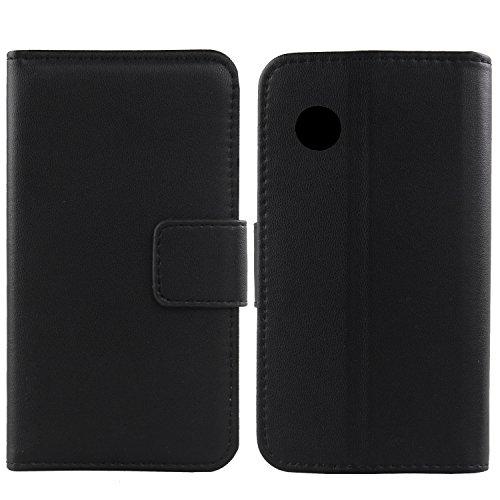 Gukas Design Echt Leder Tasche Für Wiko Ozzy Hülle Handy Flip Brieftasche mit Kartenfächer Schutz Protektiv Genuine Premium Hülle Cover Etui Skin Shell (Schwarz)