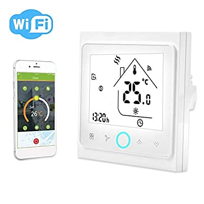 Smart Thermostat,2/4 Pipe WiFi Smart Central Air Conditioning Thermostat Temperature Controller LCD Touch Screen