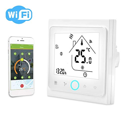 Termostato Inteligente, 2 o 4 Tubería WiFi Smart Central Aire Acondicionado Termostato Controlador de Temperatura Pantalla Táctil LCD(2 Pipe)