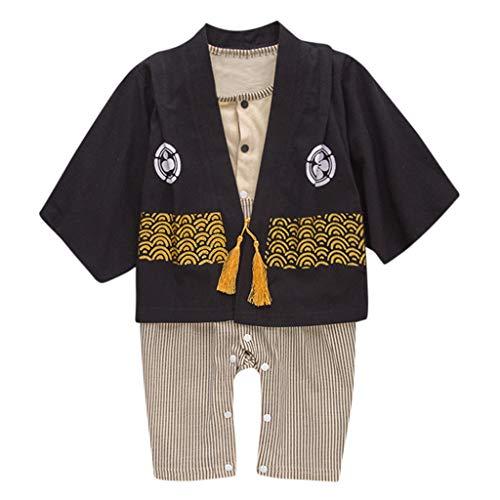 Jimmackey Neonato Kimono Pagliaccetto, Bebè Strisce Tutine Body + Cappotto, da 0 A 24 Mesi Bambino