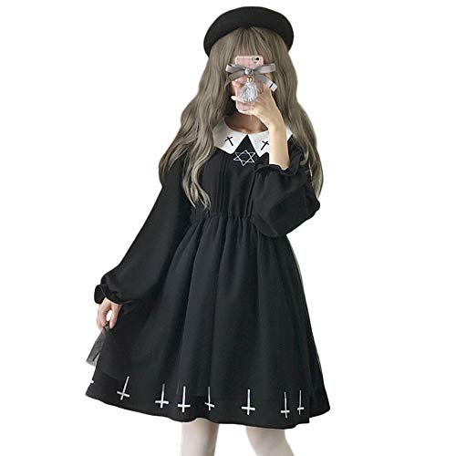 Himifashion Lolita Gothic Black Star Cross Nonne mit Langen Ärmeln Kleid Damen (S)