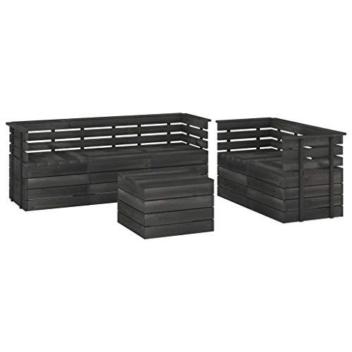 vidaXL - Paleta de jardín de madera de pino maciza, 6 unidades, muebles de exterior, muebles de jardín, muebles de terraza, muebles de patio gris oscuro