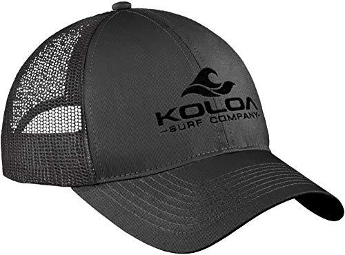 Koloa Surf Wave Classics Retro Trucker Cap - Mesh Snapback Hat-Charcoal/b
