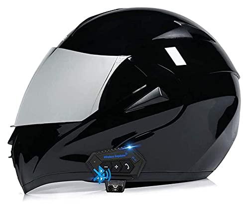 Cascos Bluetooth de la motocicleta, Bluetooth integrado Modular Flip Up Casco de motocicleta de cara completa, casco de Bluetooth modular de visera dual con intercomunicador de MP3 FM para hombres muj