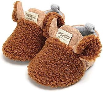 Carolilly - Botas de invierno cálidas para bebé recién nacido, antideslizantes, fondo suave, para niños marrón 12-18 meses