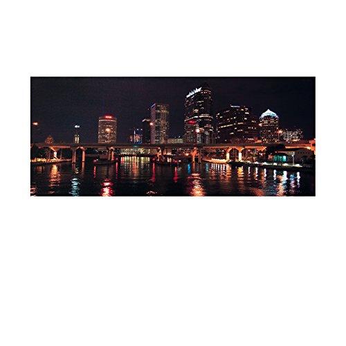 LED Bild Brücke , Bridge, Skyline XXL Bild, riesig , LED Stimmungsbild mit 10 LED / 120 cm Breit x 50 cm Hoch Batteriebetrieb , nur 0,06W, Leuchtbild auf Leinwand mit An und Ausschalter , Batterien inklusive. Riesiges Bild, LED