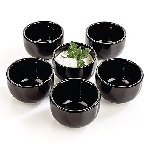 Urban Lifestyle - 6 coppette da salsa rotonde, 6 x 6 x 3,6 cm, colore: nero Kuro