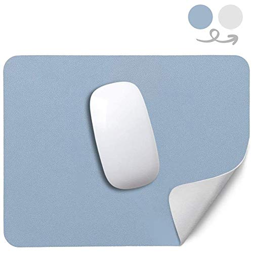 Mini Kitty Mouse Pad Pu Leather Double Sided Mousepad Dual Works Non Slip 26x21cm 10.2x8.2in for Laptop Computer Home Office School Gaming Blue and Grey