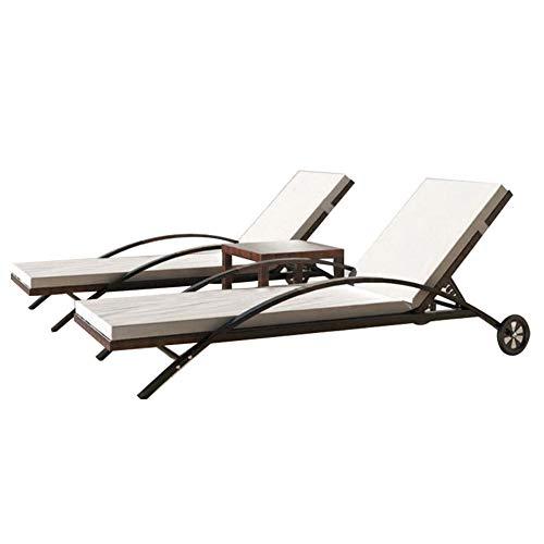 Set Mobili da Giardino 2 Sedie a Sdraio e Tavolino Lettino Prendisole in Polyrattan Marrone