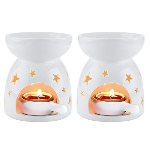 T4U - Juego de 2 quemadores de Aceite Esencial con Cuchara para Vela (cerámica, 2 Unidades), diseño de Buda, Color Negro, Star Pattern:Pack of 2, Pequeño