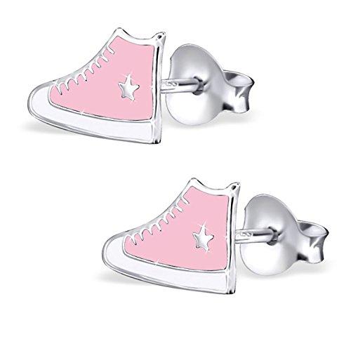 Jayare - Orecchini da bambina a forma di scarpa da ginnastica, in argento Sterling 925, rosa/rosa