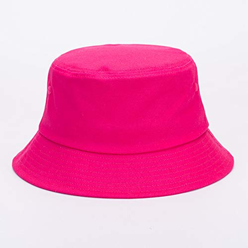 mlpnko Fischerhut Männer und Frauen im Freien Baumwolle Mode Becken Hut Stickerei Strand rosa M56-58cm